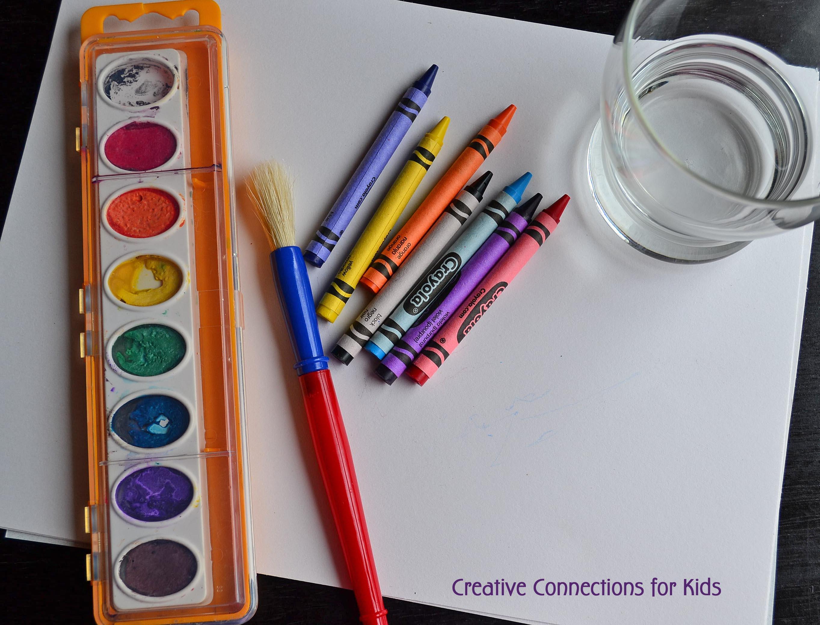 crayon watercolor valentine cards