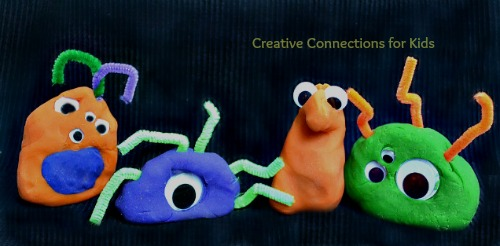 Crazy play dough monsters for Halloween