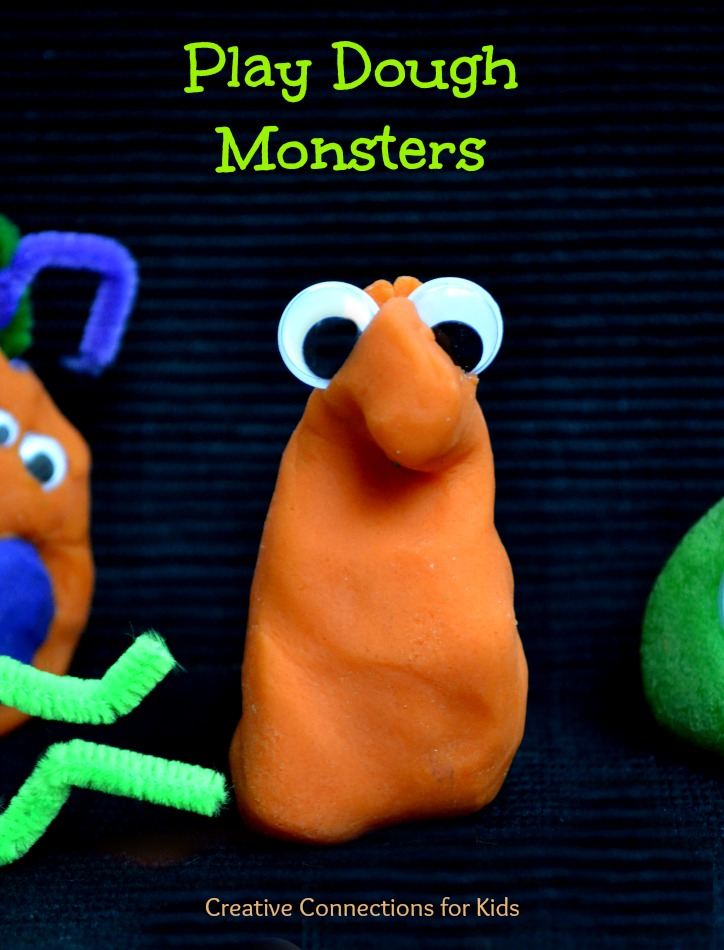 Monsters from play dough for Halloween