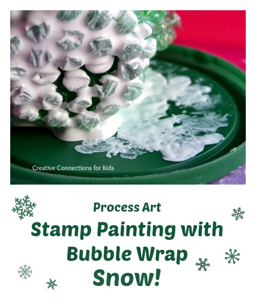 Stamp Painting with bubble wrap to make a snow scene