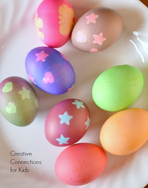 Easter Egg decorating using stickers to create a resist dye effect