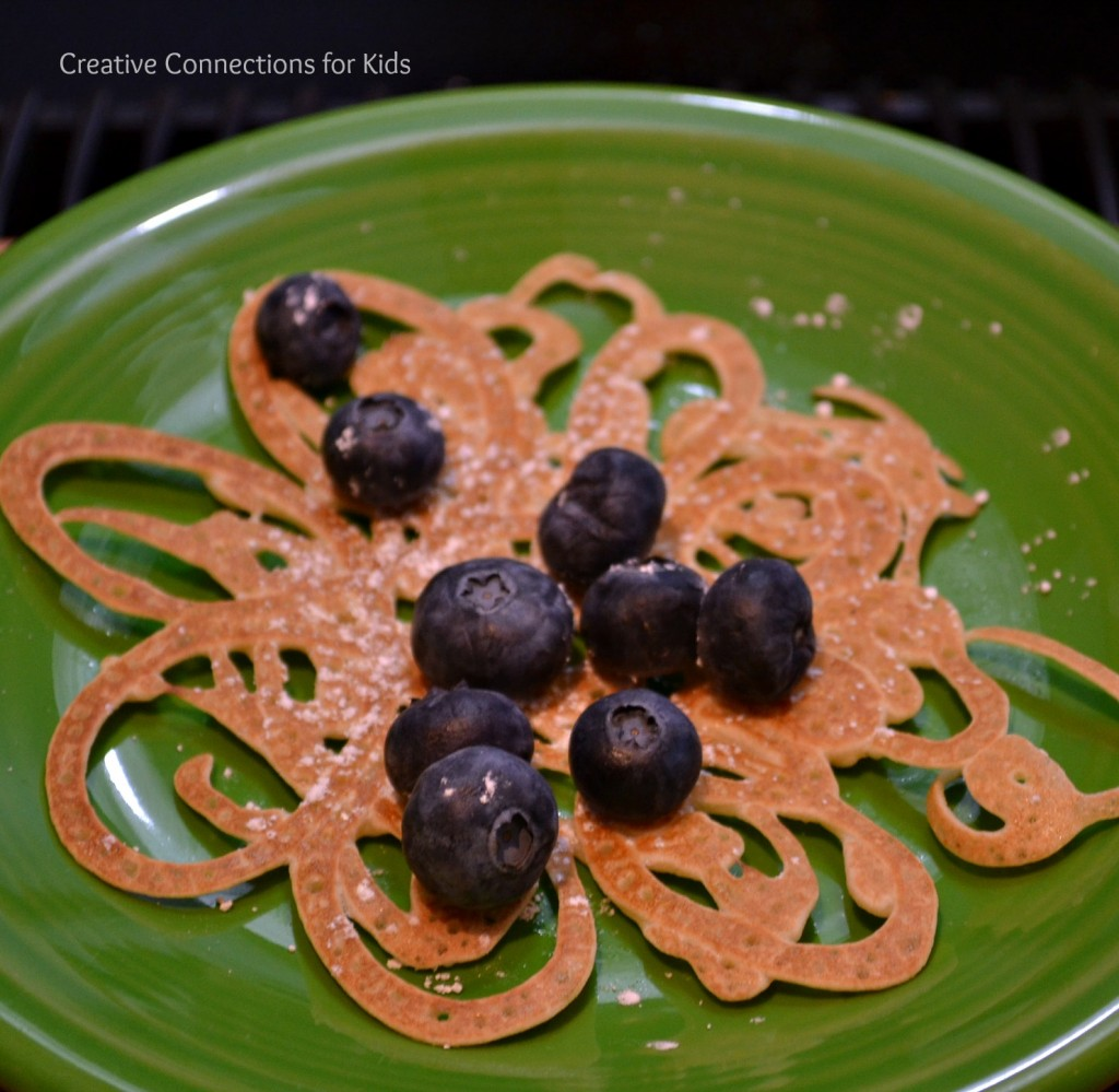 Swirl Pancakes with blueberries