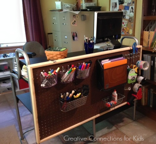 Pegboard organization on desk from Creative Connections for Kids