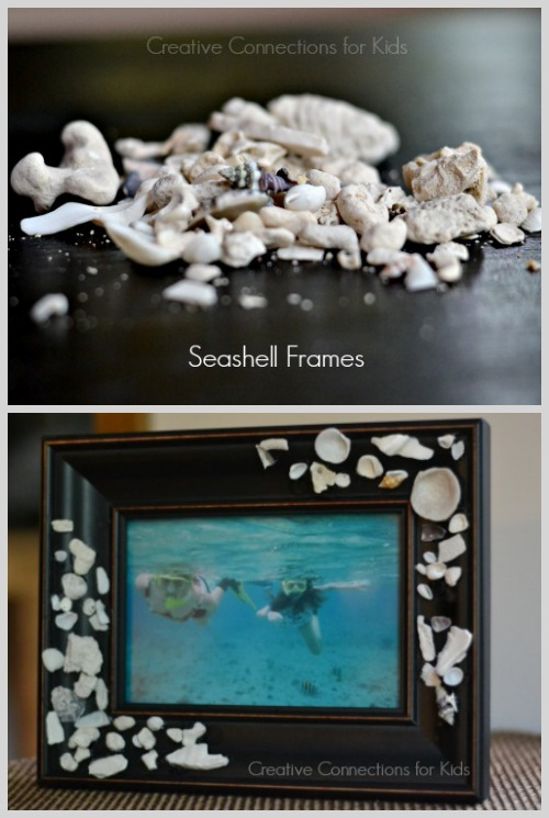 Use your seashell and beach treasures from vacation to create a seashell frame...Creative Connections for Kids