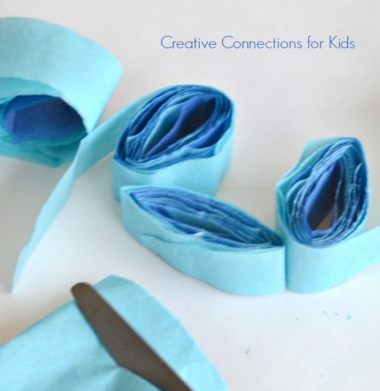 Sensory Box - cut rolled tissue paper
