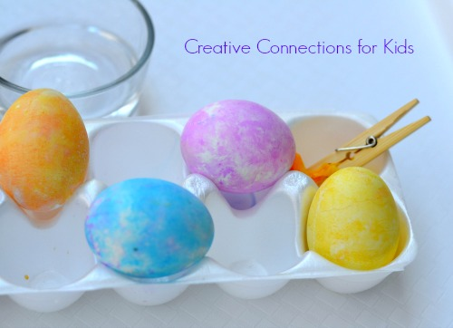 Painting Easter Eggs with Tissue Paper at Creative Connections for Kids