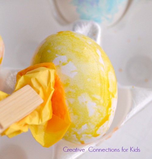 Tissue Paper Painting on Eggs