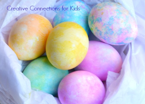 Tissue Paper painted Easter Eggs, so pretty on Creative Connections for Kids