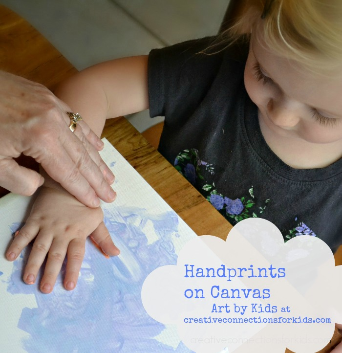 Handprints on Canvas- art by kids