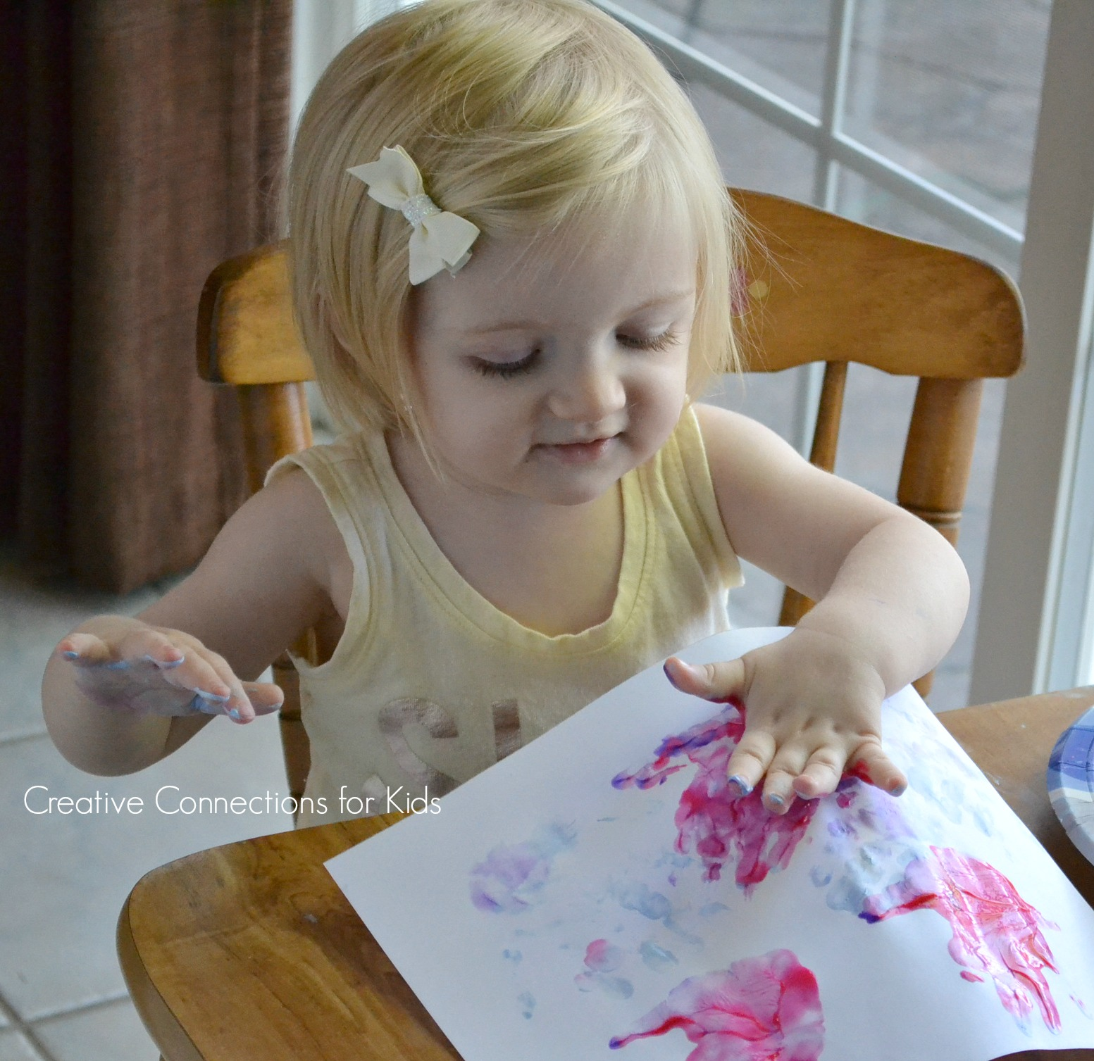 Handprints on Mother's Day - fingerpaint