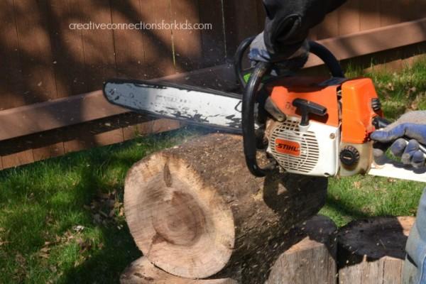 Making a log walk - cut the logs