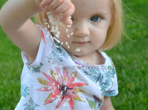 Simple sensory play with rice